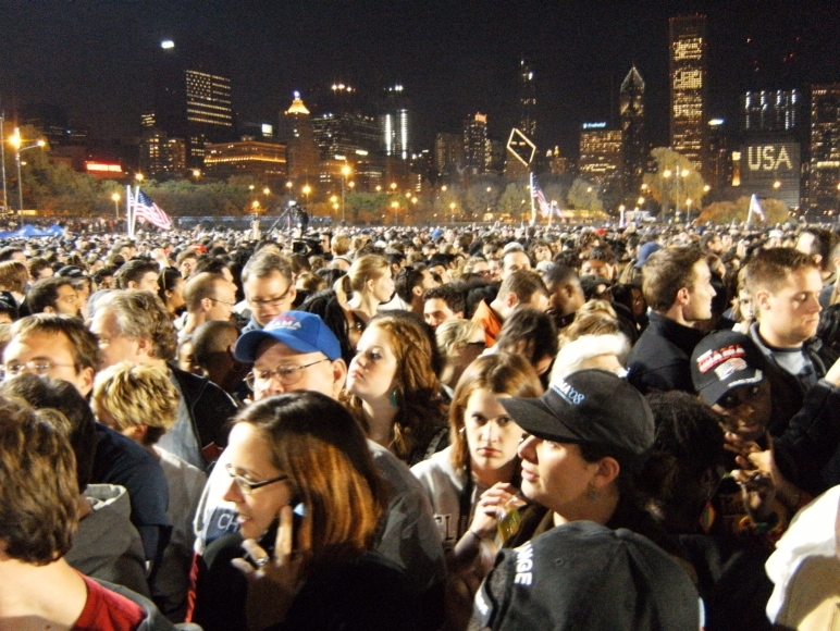 Obama Election Night Chicago Skyline
